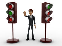 3d man stopping with signal lights concept Royalty Free Stock Photo