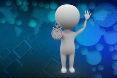 3d man with stopwatch illustration Royalty Free Stock Images
