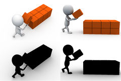 3d man storage concept collections with alpha and shadow channel Stock Images