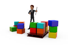 3d man storage list concept Royalty Free Stock Photography