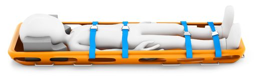 3d man strapped in a stretcher. On white background Stock Photos