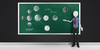 3d man with  strategy flow chart diagram Stock Photography