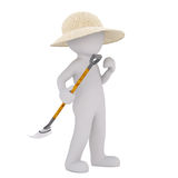 3D man in straw hat with rake. Faceless 3D man character of gardener in straw hat holding leaf rake, standing isolated on white background Royalty Free Stock Images