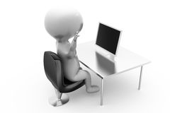 3d man stress with laptop concept Stock Images