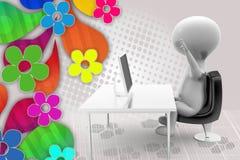 3d man stress with laptop illustration Stock Photo