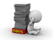 3D Man Stressed with Full Inbox. 3D guy stressed holding his head, sitting next to an inbox full of papers Royalty Free Stock Photos
