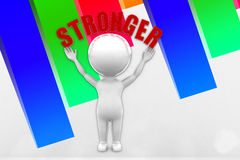 3d Man Stronger Illustration Stock Photo