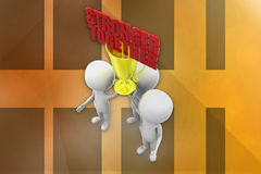 3d man stronger together illustration Royalty Free Stock Images