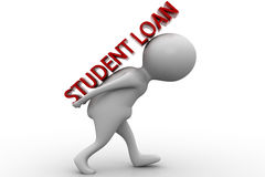 3d man student loan concept Stock Images