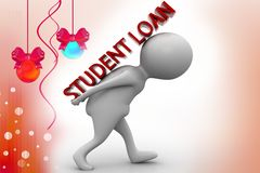 3d man student loan illustration Royalty Free Stock Photo