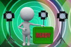3d man studio light ready illustration Royalty Free Stock Photography