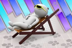 3d man sub bath illustration Royalty Free Stock Images
