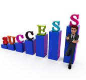 3d man success chart concept Royalty Free Stock Photo