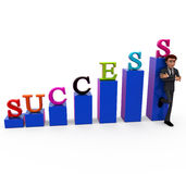 3d man success chart concept Royalty Free Stock Image