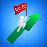 3D Man with Success Flag on Green Arrow. Vector Illustration Royalty Free Stock Photo