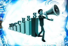3d man with success graph and advertise it with speaker conccept Stock Photos