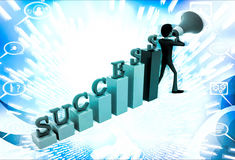 3d man with success graph and advertise it with speaker conccept Royalty Free Stock Image