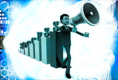 3d man with success graph and advertise it with speaker conccept Royalty Free Stock Photo