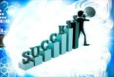 3d man with success graph and advertise it with speaker conccept Royalty Free Stock Images