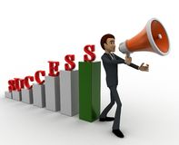 3d man with success graph and advertise it with speaker conccept Stock Photo