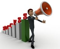 3d man with success graph and advertise it with speaker conccept Royalty Free Stock Photos