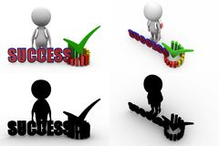 3d man success graph concept collections with alpha and shadow channel Stock Photos