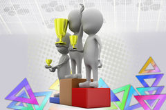 3d man success  illustration Royalty Free Stock Photos