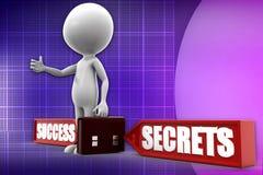 3d man success secret  illustration Royalty Free Stock Photos