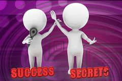 3d man success secrets illustration Stock Image