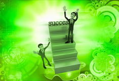 3d man on success stairs illustration Royalty Free Stock Photography