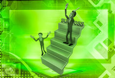 3d man on success stairs illustration Royalty Free Stock Images