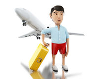3d Man with a suitcase and airplane. 3d renderer image. Man with a suitcase and airplane goes on vacation. Travel concept. Isolated white background Royalty Free Stock Photography