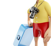 3d Man with a suitcase and a camera. 3d renderer image. Man with a suitcase and a camera goes on vacation. Travel and holidays concept.  white background Stock Image