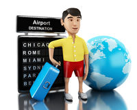 3d Man with a suitcase goes on vacation. Stock Photography