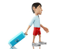 3d Man with a suitcase goes on vacation. 3d renderer image. Man with a suitcase goes on vacation. Travel concept.  white background Stock Photos
