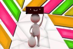 3d man suitcase on head illustration Stock Photos