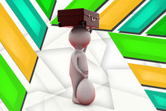 3d man suitcase on head illustration Royalty Free Stock Images