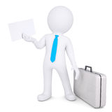 3d man with suitcase holding sheet of paper. 3d man with a suitcase holding a white sheet of paper. Isolated render on a white background Stock Photos