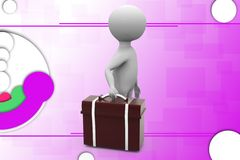 3d man suitcase illustration Royalty Free Stock Photo