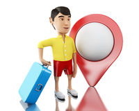 3d Man with a suitcase and map pointer. 3d renderer image. Man with a suitcase and map pointer goes on vacation. Travel and holidays concept.  white background Stock Photo