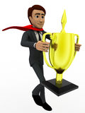 3d man super hero holding cup in hand concept Royalty Free Stock Images