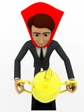 3d man super hero holding cup in hand concept Royalty Free Stock Photography