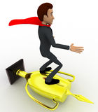 3d man super hero riding on golden cup of winner concept Royalty Free Stock Photo