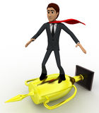 3d man super hero riding on golden cup of winner concept Royalty Free Stock Photography