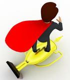 3d man super hero riding on golden cup of winner concept Royalty Free Stock Image