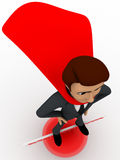 3d man super hero stand on http www board and red sphere concept Royalty Free Stock Image