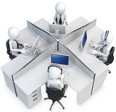 3d man support center. Cubicle team working Stock Photos