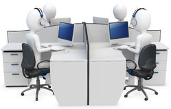 3d man support center. Cubicle team working Royalty Free Stock Photos