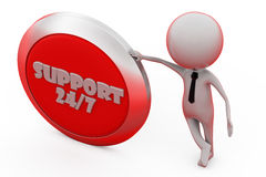 3d man support 24/7 concept Stock Images