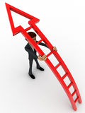 3d man support curved arrow stairs concept Royalty Free Stock Image